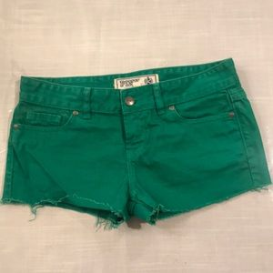 Victoria's Secret Pink denim shorts, green color